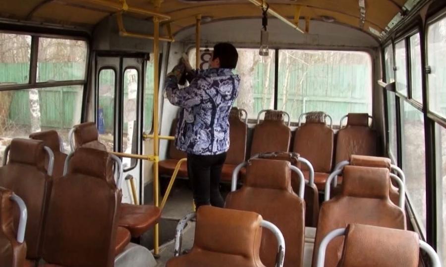 ВКотласе продолжается дезинфекция общественного транспорта
